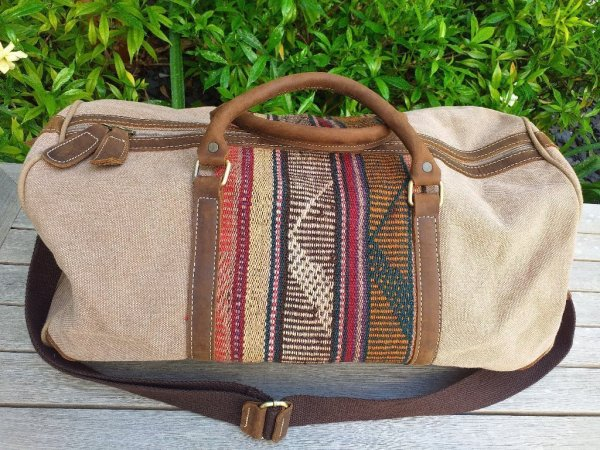 GBD951 Cotton Canvas Duffle Bag Leather Trim