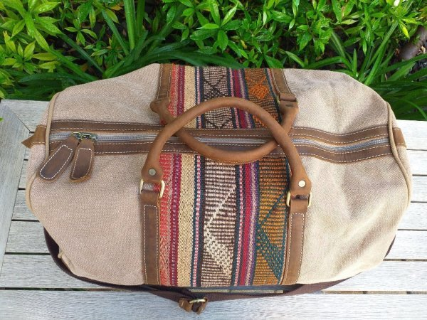 GBD951b Cotton Canvas Duffle Bag Leather Trim