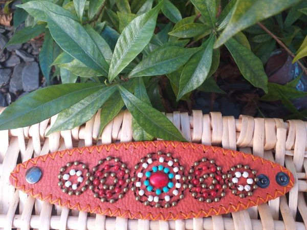 HLB913 Leather Bead Handmade Cuff Bracelet