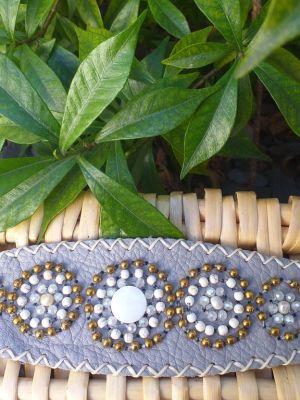 HLB917 Leather Bead Handmade Cuff Bracelet