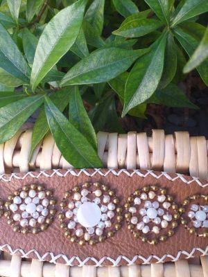 HLB919 Leather Bead Handmade Cuff Bracelet