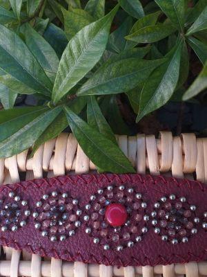 HLB935 Leather Bead Handmade Cuff Bracelet