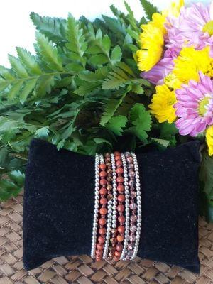HRB951 Thailand Handmade SemiPrecious Stone Metal Bracelet