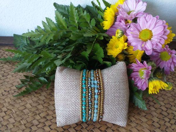 HRB957 Thailand Handmade SemiPrecious Stone Metal Bracelet