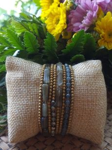 HRB965 Thailand Handmade SemiPrecious Stone Metal Bracelet