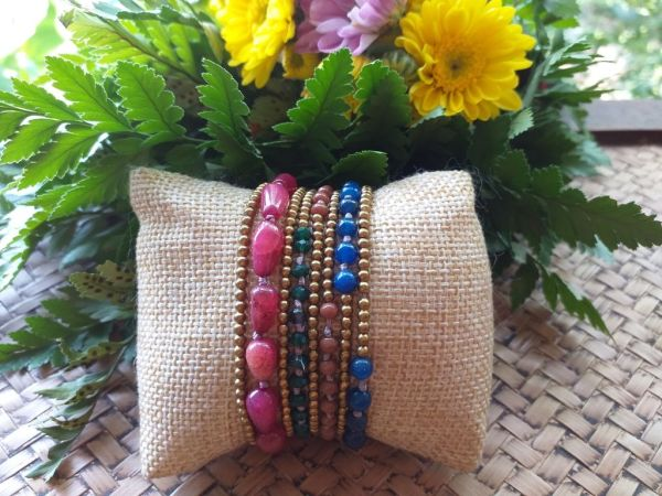 HRB972 Thailand Handmade SemiPrecious Stone Metal Bracelet