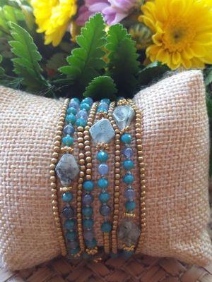 HRB977 Thailand Handmade SemiPrecious Stone Metal Bracelet