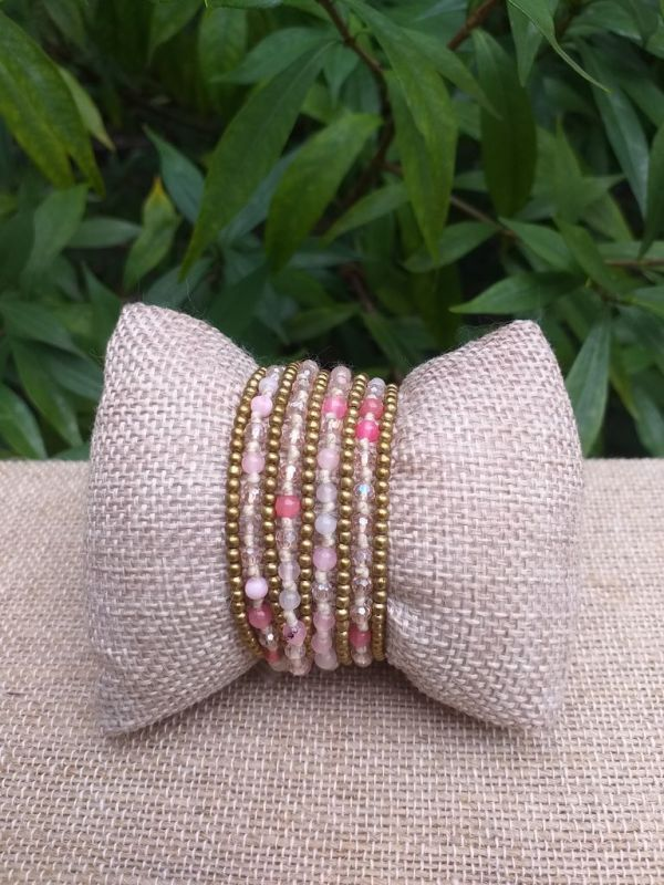 HWB914 Handmade Bead Stone Metal Single Wrap Bracelet