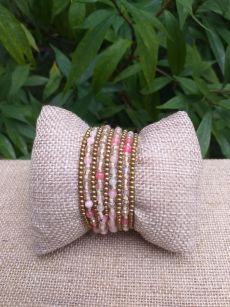 HWB914 Handmade Bead Stone Metal Single Wrap Bracelet