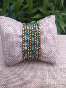 HWB920 Handmade Bead Stone Metal Single Wrap Bracelet