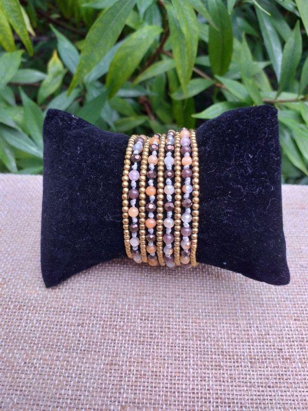 HWB928 Handmade Bead Stone Metal Single Wrap Bracelet
