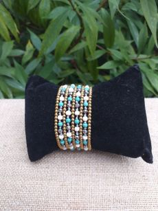 HWB931 Handmade Bead Stone Metal Single Wrap Bracelet