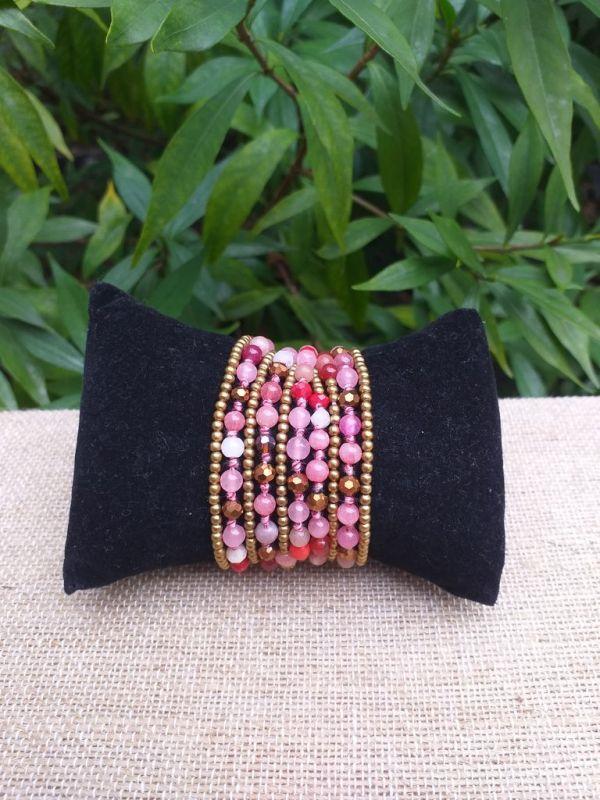HWB932 Handmade Bead Stone Metal Single Wrap Bracelet