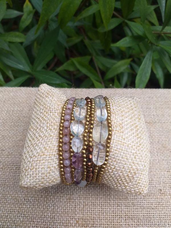 HWB935 Handmade Bead Stone Metal Single Wrap Bracelet