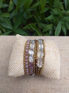 HWB935 Handmade Bead Stone Metal Single Wrap Bracelet