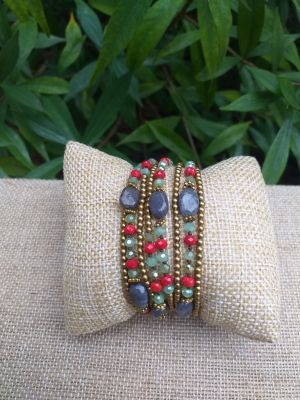 HWB942 Handmade Bead Stone Metal Single Wrap Bracelet
