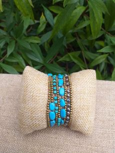 HWB943 Handmade Bead Stone Metal Single Wrap Bracelet