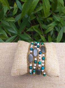 HWB944 Handmade Bead Stone Metal Single Wrap Bracelet