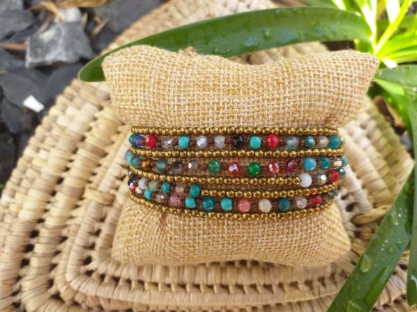 HWB950 Handmade Bead Stone Metal Single Wrap Bracelet