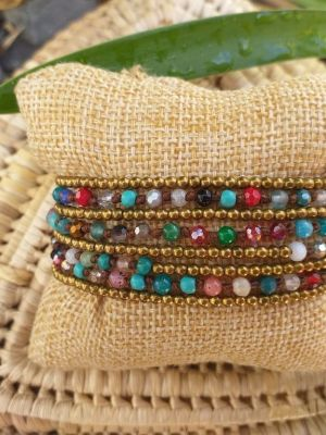 HWB950 Handmade Bead Stone Metal Single Wrap Bracelet