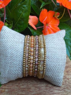 HWB957B Thailand Unique Stone Metal Bead Bracelet
