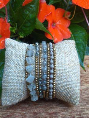 HWB961B Thailand Unique Stone Metal Bead Bracelet