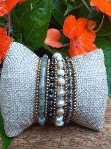 HWB965B Thailand Unique Stone Metal Bead Bracelet