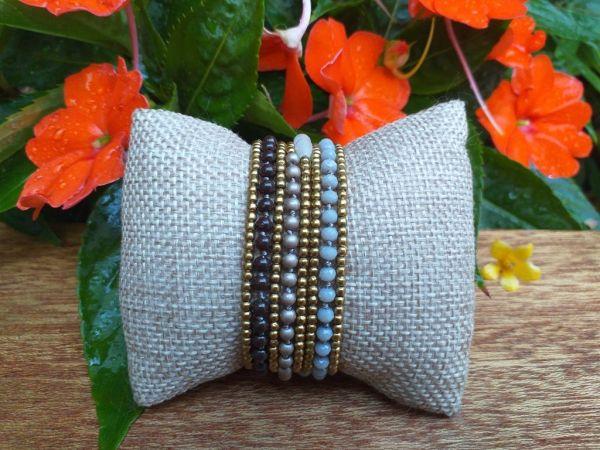 HWB966B Thailand Unique Stone Metal Bead Bracelet