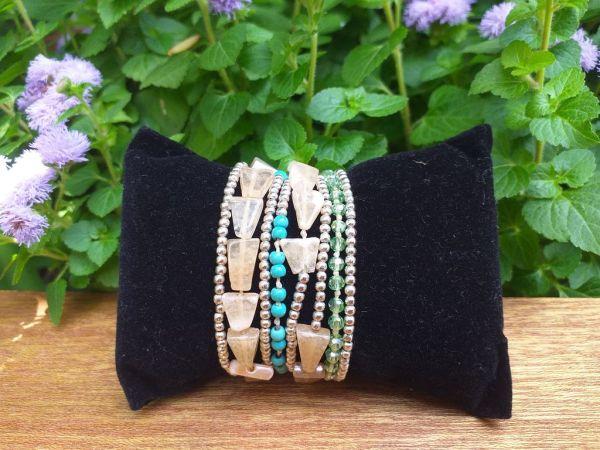 HWB968 Thailand Unique Stone Metal Bead Bracelet