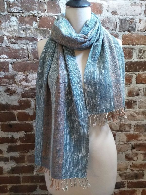 IDD901A Hand Woven Cotton Natural Indigo Dye Scarf