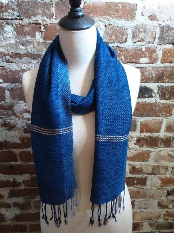 IGD903B Hand Woven Rayon Natural Indigo Dye Scarf