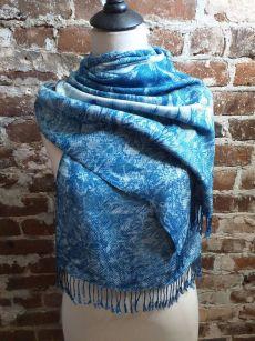 IGD907D Hand Woven Rayon Natural Indigo Dye Scarf