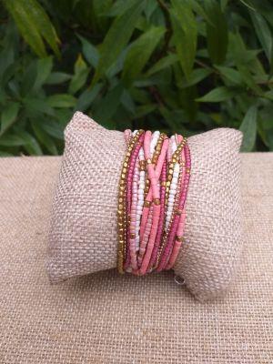 JRB902a Handmade Bead Stone Metal Multi Wrap Bracelet