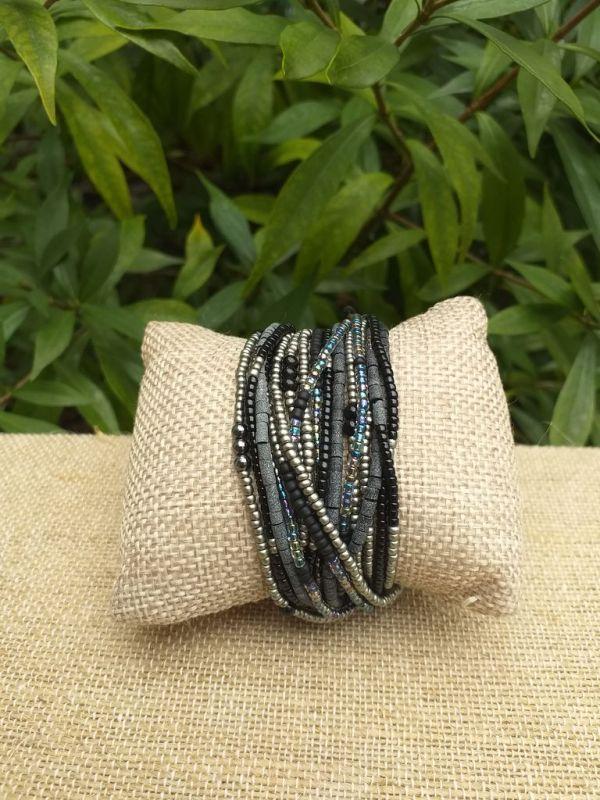 JRB904a Handmade Bead Stone Metal Multi Wrap Bracelet