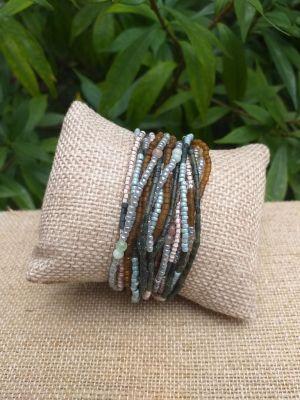 JRB908a Handmade Bead Stone Metal Multi Wrap Bracelet