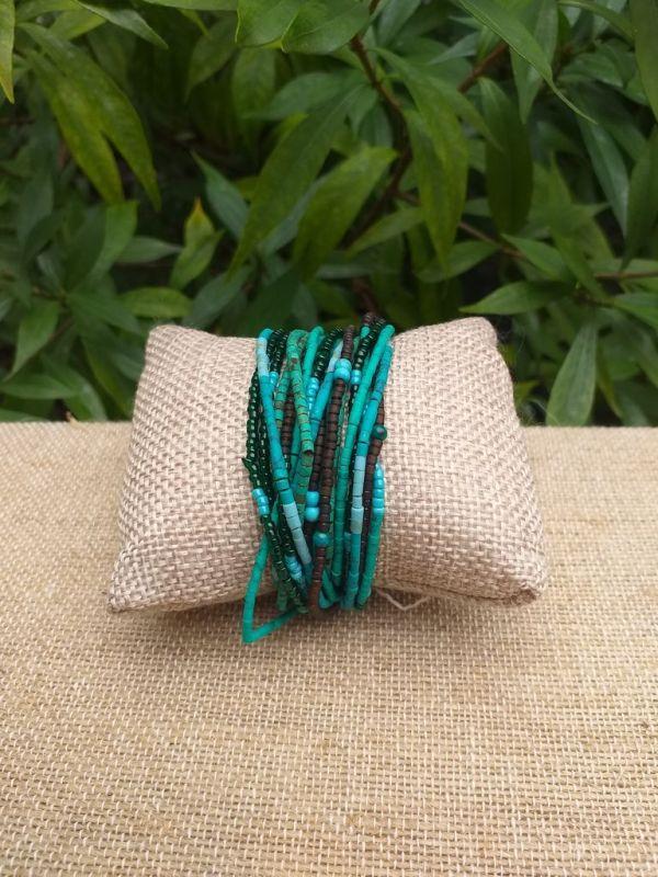 JRB914a Handmade Bead Stone Metal Multi Wrap Bracelet