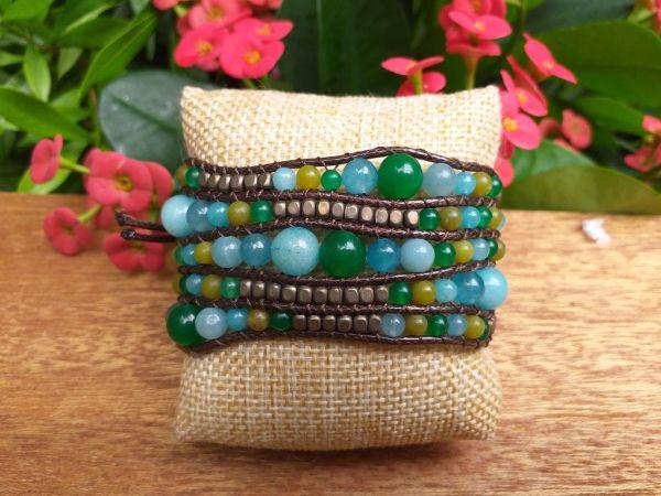 JVB642g Thailand Handmade Stone Bead String Metal Bracelet