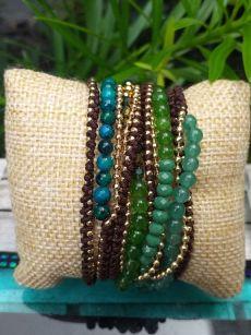 JWB031 Thailand Handmade Stone Bead String Metal Bracelet