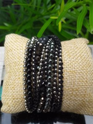 JWB033 Thailand Handmade Stone Bead String Metal Bracelet