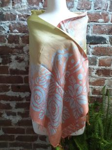 KED682d 100 Silk Hand Batik Shawl Scarf