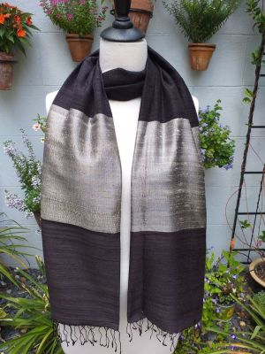 NDS045b Thai Silk Hand Dyed Striking Shawl
