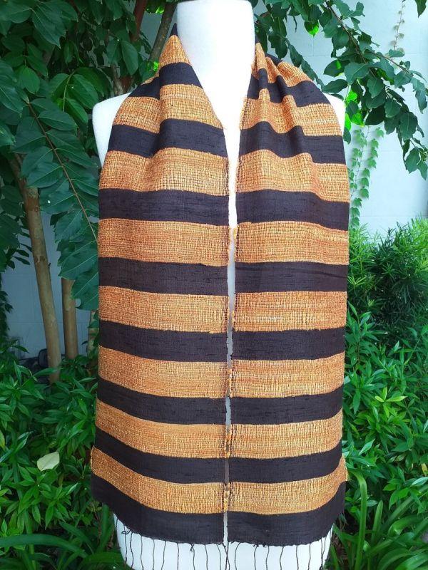 NFC041a Thai Silk Hand Woven Colorful Scarf