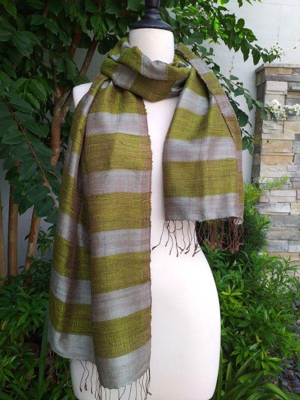 NFS317a Thai Silk Hand Woven Colorful Shawl
