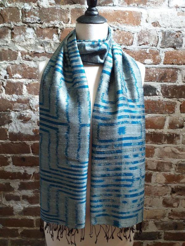 NMS677b Thai Silk Hand Dyed Striking Shawl