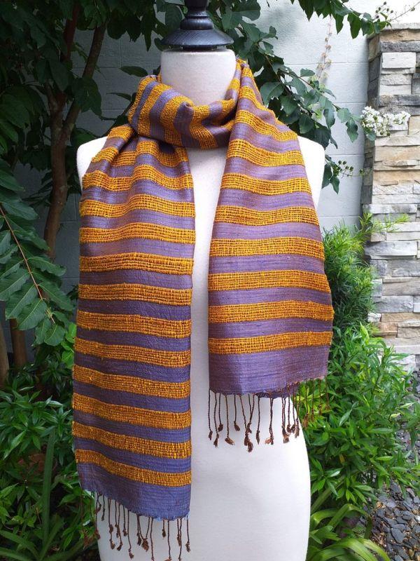 NND450a Thai Silk Hand Woven Colorful Scarf