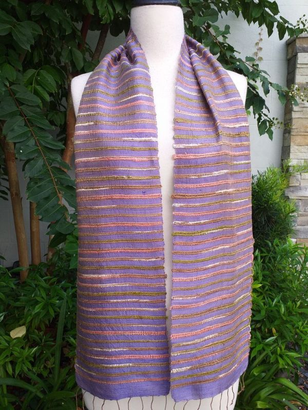 NSC162a Thai Silk Hand Woven Colorful Scarf