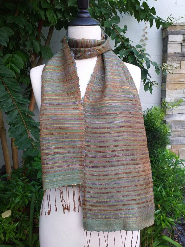 NSC311a Thai Silk Hand Woven Colorful Scarf
