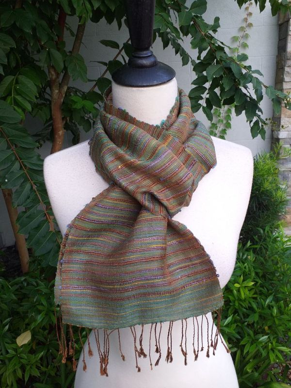 NSC311b Thai Silk Hand Dyed Striking Scarf