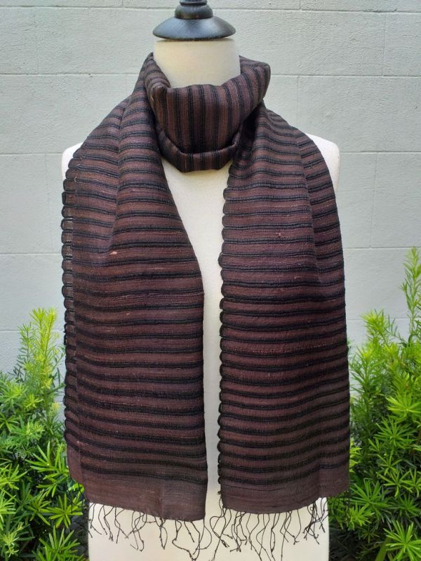 NSD651b Thai Silk Hand Dyed Striking Scarf