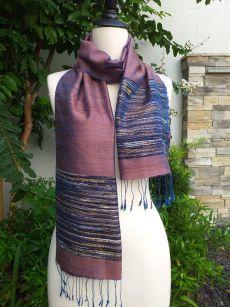 NTD086a Thai Silk Hand Woven Colorful Scarf